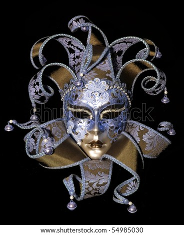 Great traditional venetian mask on black background - stock photo