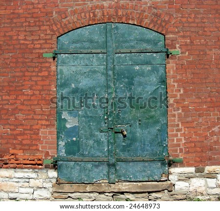 Great variety of materials and colors on this historic warehouse door.