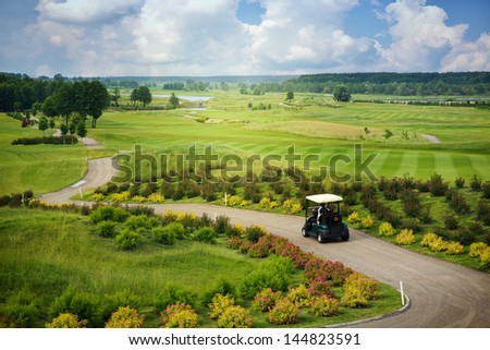 Great view  at the beautiful golf course - stock photo