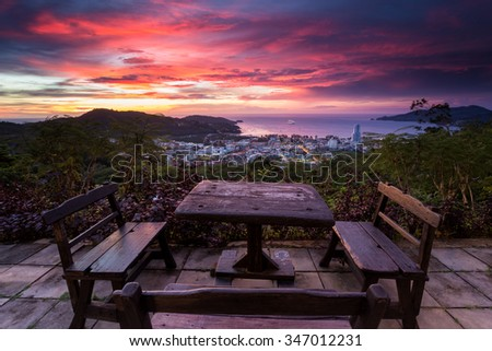 Great view from Wassa bar above Patong in Phuket - stock photo