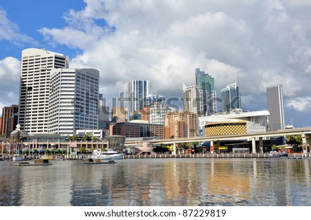 Great View of Darling Harbour Skyline in Cloudy Winter Day - stock photo