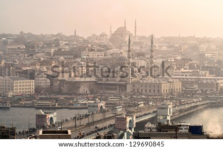 Great view of Istanbul city - stock photo