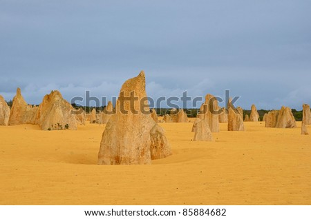 Great View of Pinnacle Desert on a Cloudy Day - stock photo
