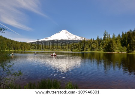 Great View of Snow-cpped Mount Hood Reflecting in Trillium Lake
