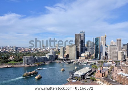 Great View of Sydney Skyline in Beautiful Winter Day - stock photo