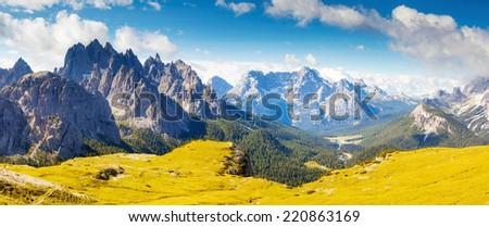 Great view of the Cadini di Misurina range and Sorapis group in National Park Tre Cime di Lavaredo. Dolomites, South Tyrol. Location Auronzo, Italy, Europe. Dramatic unusual scene. Beauty world. - stock photo