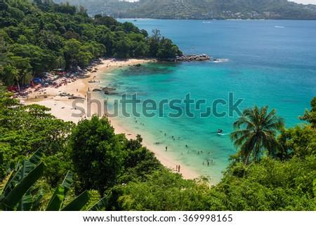 Great view on Laem Sing beach in Phuket Thailand  - stock photo