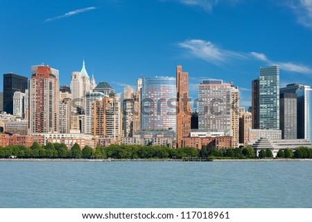 Great view on summer New York from Hudson river.
