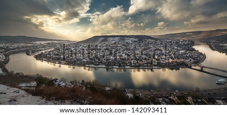 Great view over River Mosel and the City of Bernkastel-Kues, Germany - stock photo