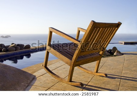 Great Views of the ocean are available poolside at a resort in Costa Rica - stock photo