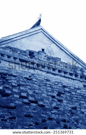Great Wall  and roof in Aries Valley, Qian'an City, Hebei Province, China - stock photo
