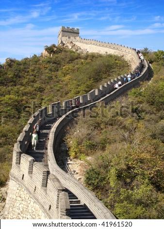 Great wall climb - stock photo