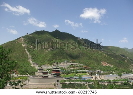 Great wall of china at juyongguan, in the middle of which is a village