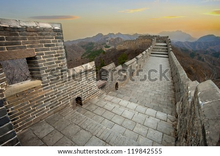 Great Wall of China during the onset of dusk - stock photo