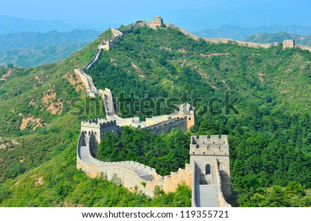 Great Wall of China in Summer (Jinshanling section near Beijing) - stock photo