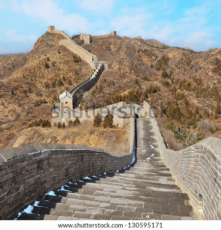 Great Wall of China on sunny day in Autumn - stock photo