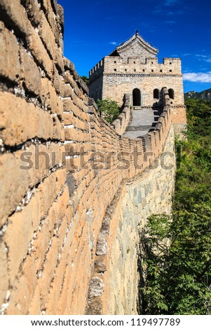Great wall tower in China on a sunny day - stock photo