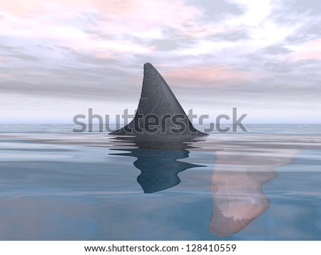 Great White Shark Fin Computer generated 3D illustration - stock photo