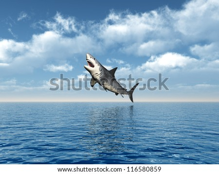Great White Shark Jumping Computer generated 3D illustration - stock photo