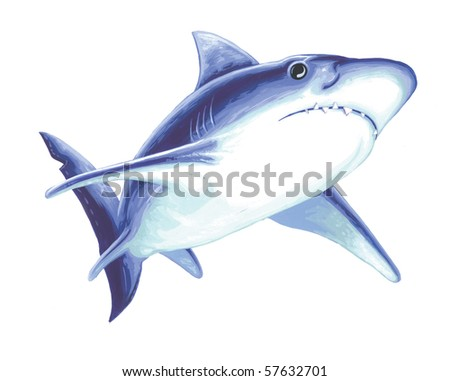 Great White Shark Painting - stock photo