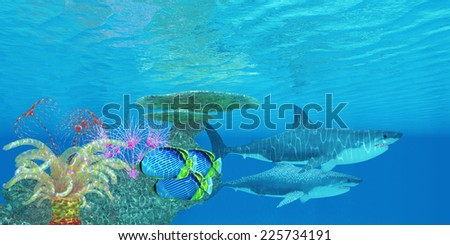 Great White Shark Reef - Three Black-backed Butterflyfish swim toward the shelter of a reef to hide from two Great White sharks. - stock photo