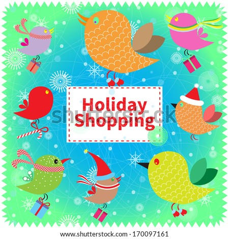 Great winter deals banner. Bright concept card with cute funny birds. - stock photo
