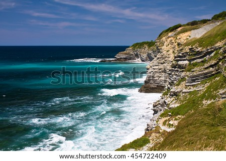 great wonders of nature - view on ledge on atlantic coast with turquoise ocean, saint jean de luz, basque country, france