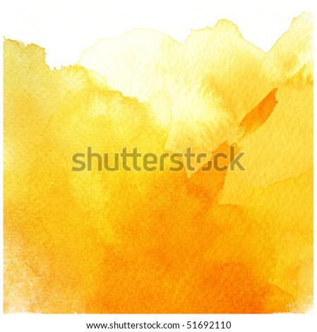 great yellow watercolor background - watercolor paints on a rough texture paper - stock photo