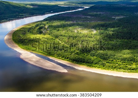 Greater Khingan Range Jiangwan and Wusuli River shoal - stock photo