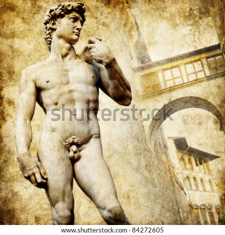 greatest italian landmarks series - David sculpture, artistic retro style - stock photo