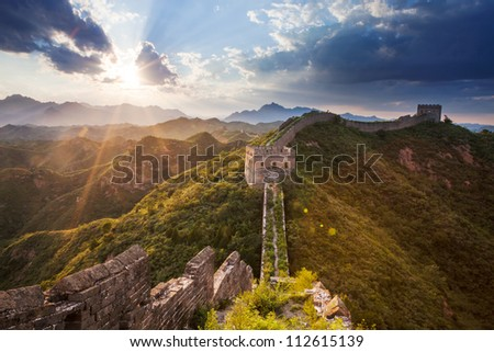 greatwall with sunset,which is landmark of beijing and china - stock photo