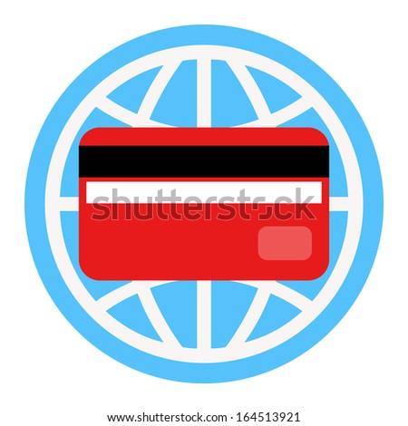 Gredit card and globe - stock photo