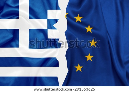 Greece and E.U flags split in the middle on silk texture