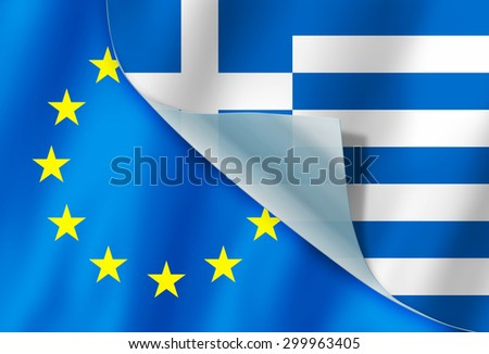 Greece and Europe flag flying close together