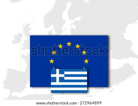 Greece and European Union Flag with Europe map background - stock photo