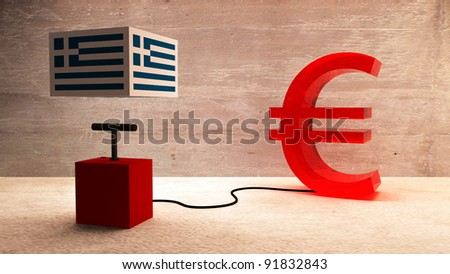 Greece and the euro - stock photo