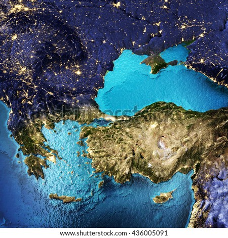 Greece and Turkey. Elements of this image furnished by NASA. 3D rendering - stock photo