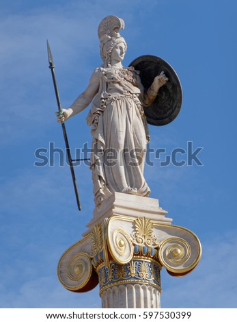 Greece, Athena the goddess of knowledge and wisdom statue