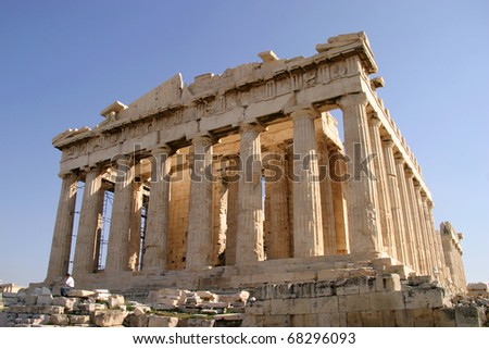 Greece Athens Acropolis archeaological site the Parthenon - Unesco World heritage site - stock photo