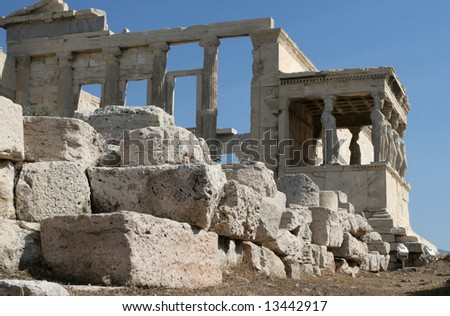Greece, Athens. Acropolis. Porch of the Maidens (Caryatids) in temple Erechtheum - stock photo