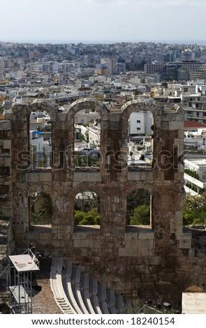 Greece, Athens. Acropolis. The Odeon of Herodes Atticus - stock photo