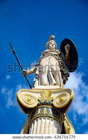 GREECE, ATHENS - MARCH 22, 2017: Statue of the goddess Athena at the entrance of the Academy of Athens