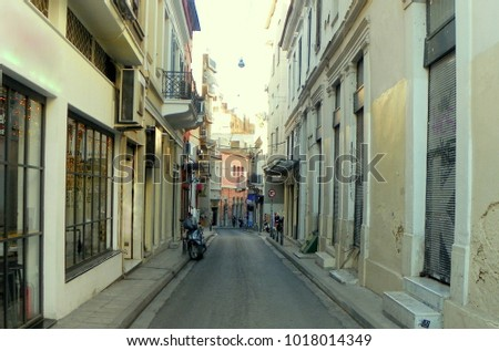 Greece, Athens, narrow streets of the morning city