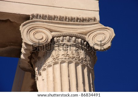 Greece Athens The Acropolis archaeological site -  UNESCO World Heritage site detail of a marble column