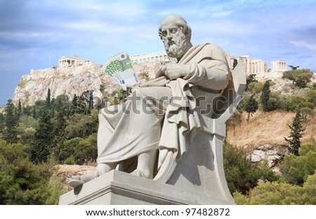 Greece bailout and Greek financial crisis conceptual composite. Ancient Greek philosopher Plato (neoclassical statue) is holding euro banknotes in his hand. Ruins on the Acropolis in background.