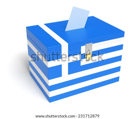 Greece ballot box with Greek Flag. Isolated on white background. - stock photo
