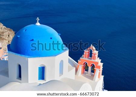 Greece blue church - stock photo