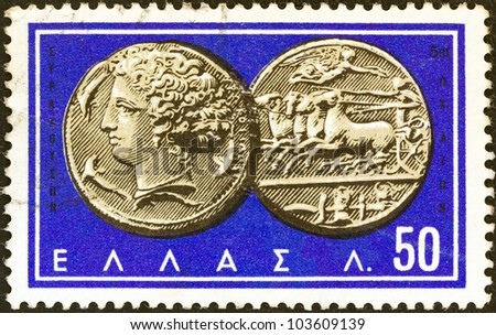 "GREECE - CIRCA 1963: A stamp printed in Greece from the ""Ancient Greek Coins"" issue shows a coin from Syracuse 5th century B.C. (Nymph Arethusa and chariot), circa 1963. - stock photo"