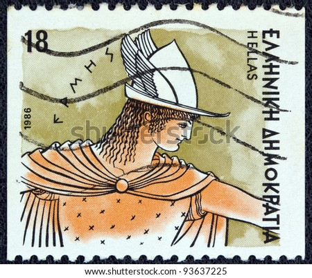 "GREECE - CIRCA 1986: A stamp printed in Greece from the ""Gods of Olympus"" issue shows god Hermes, circa 1986. - stock photo"