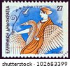 "GREECE - CIRCA 1986: A stamp printed in Greece from the ""Gods of Olympus"" issue shows goddess Aphrodite, circa 1986. - stock photo"
